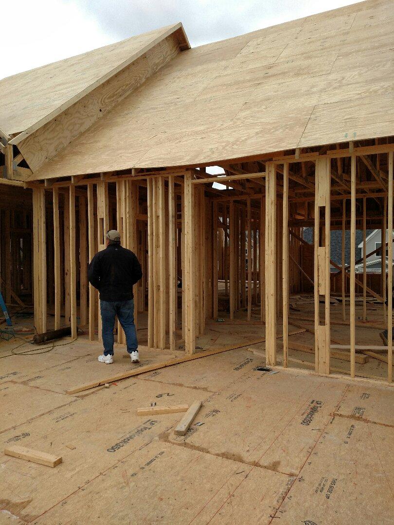 Carrollton, VA - Custom home being framed