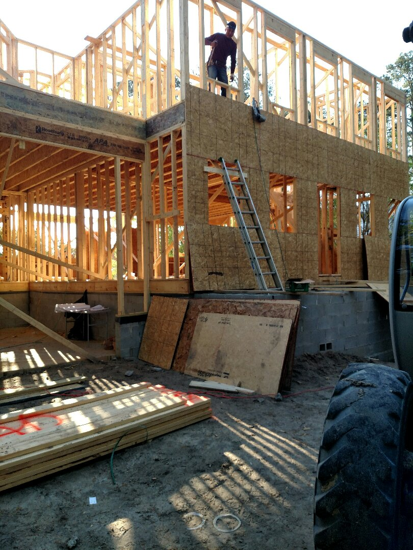 Chesapeake, VA - Custom home framing now, trusses coming today