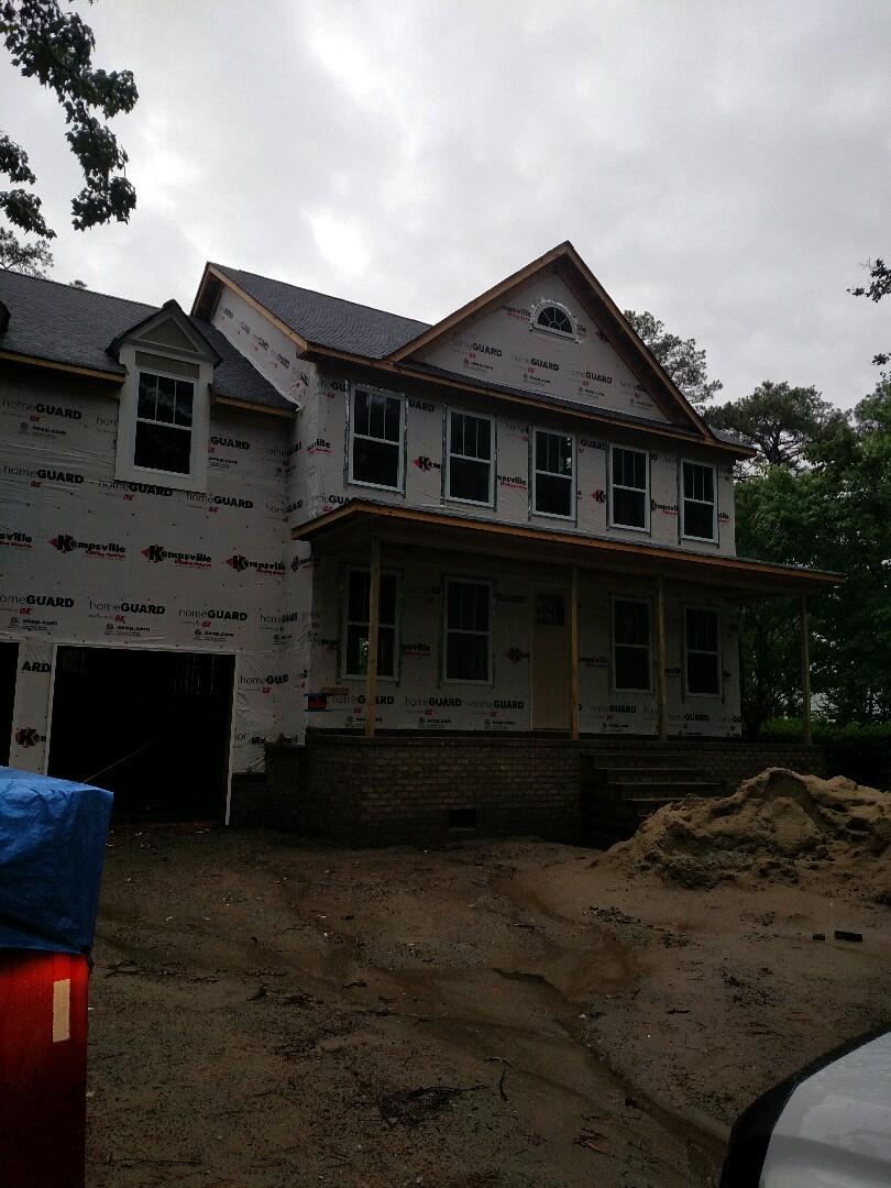 Chesapeake, VA - Custom home brick finished and ready for siding