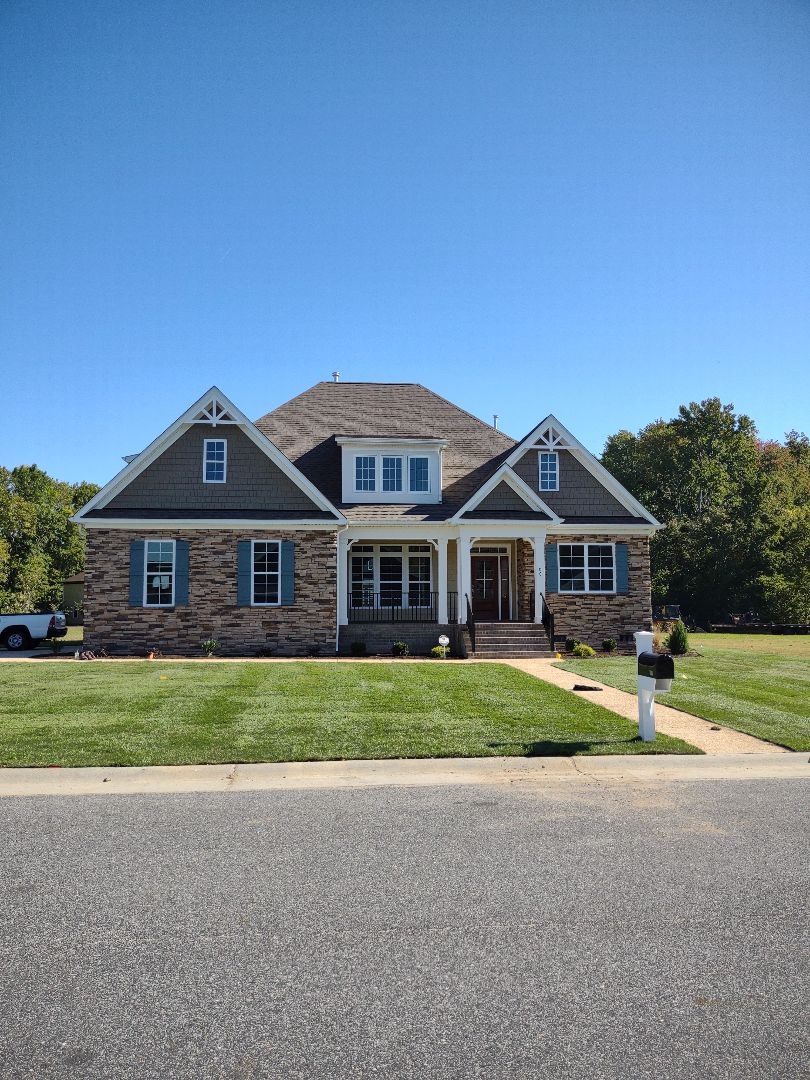 Carrollton, VA - New construction custom home sod was installed today