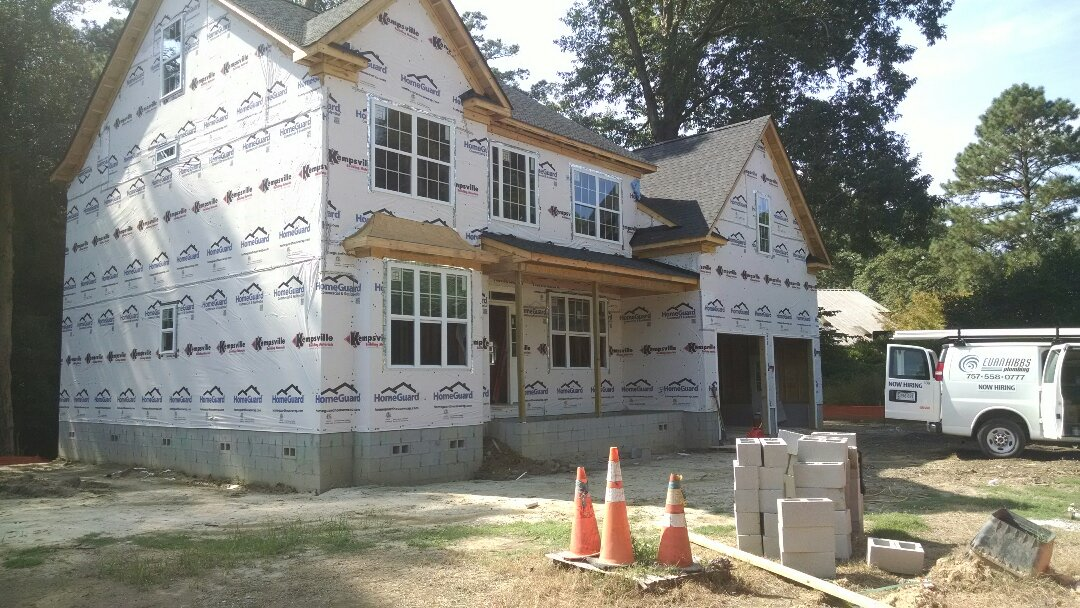 Suffolk, VA - Plumbing rough-in and HVAC installed this week...roof, windows and doors  istalled! The house is dried in....a beautiful home in a quiet neighborhood near Obici Hospital!