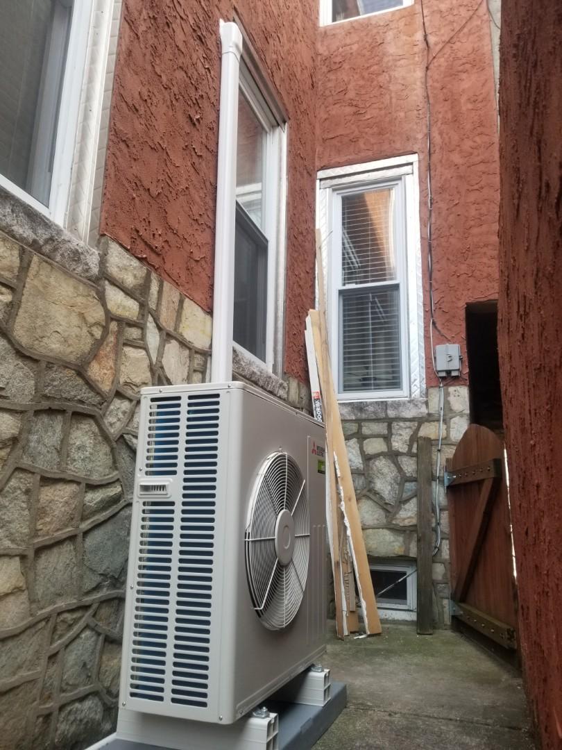 Finished installing Mitsubishi outdoor heatpump.
