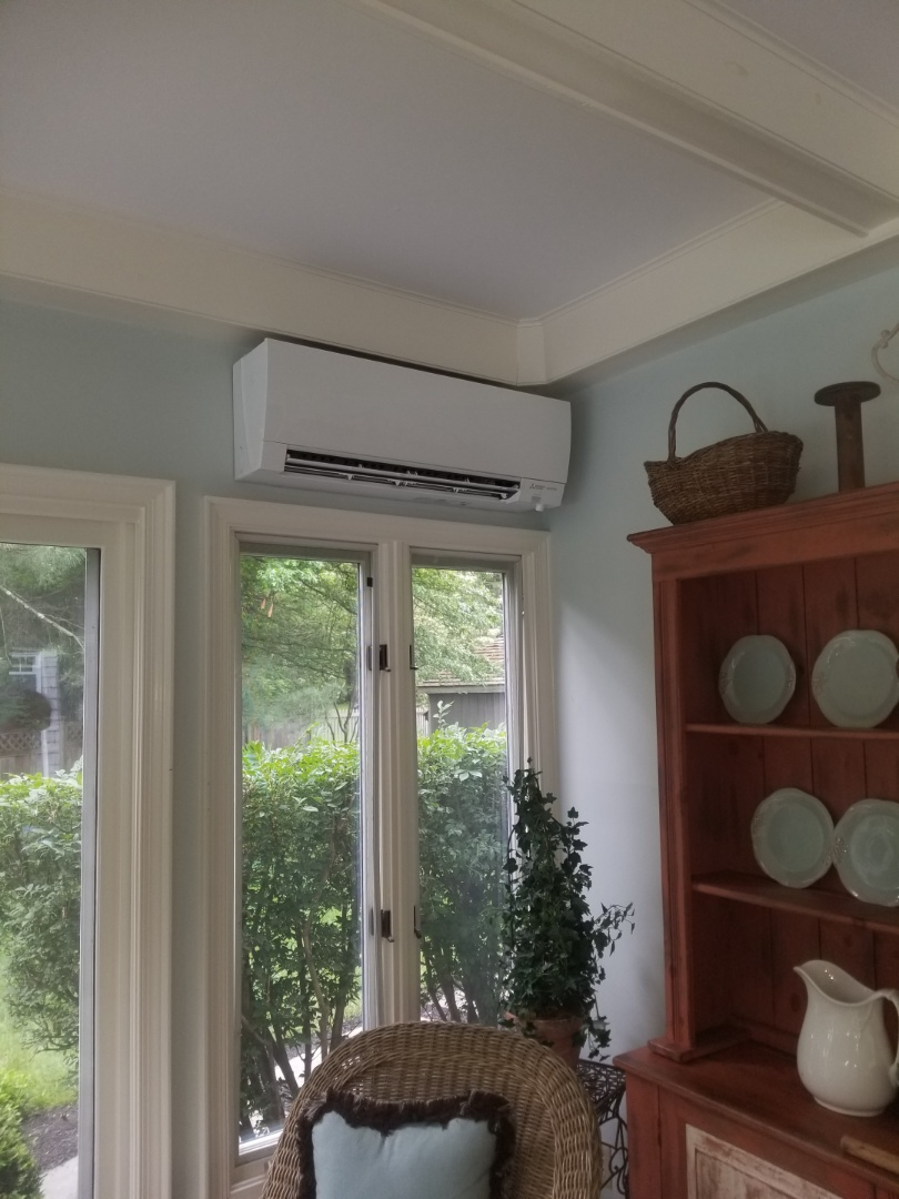 Yardley, PA - Finished installing indoor Mitsubishi hyper heat pump.