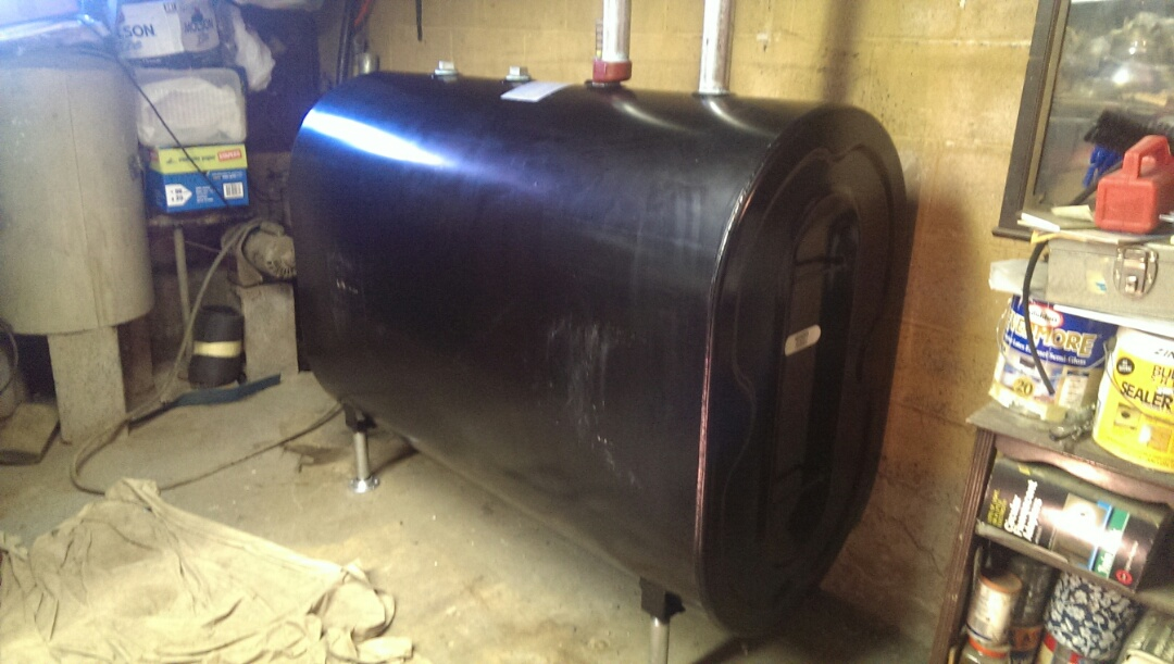 Newly installed oil tank.
