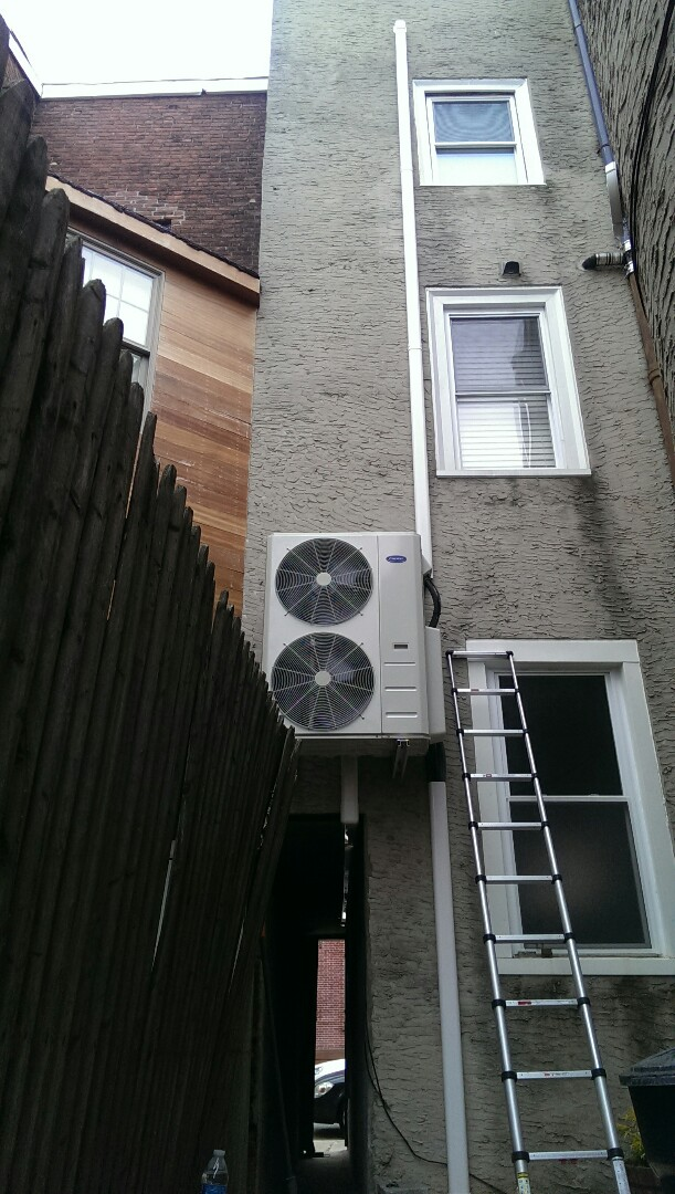 Finished installing carrier outdoor condenser.