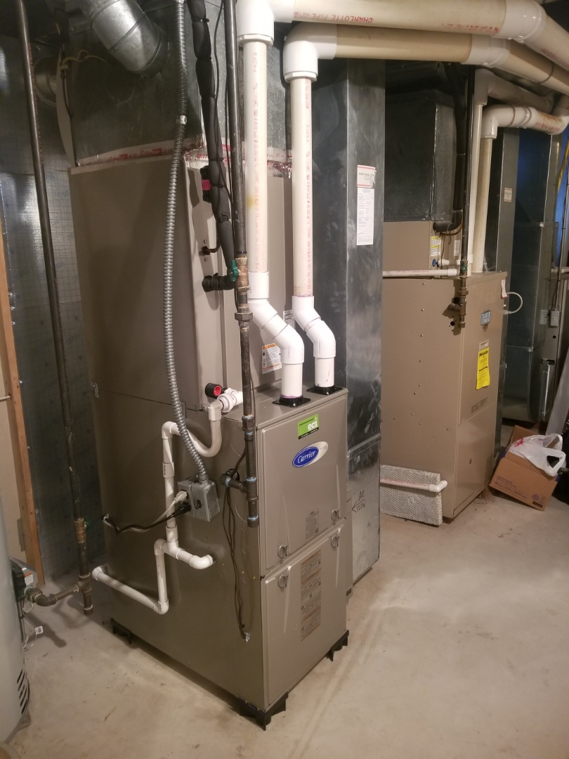 Richboro, PA - finished installing carrier gas furnace with coil and condenser.