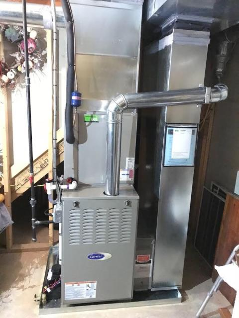 Replaced the existing furnace, coil and condenser with a new Carrier Infinity System