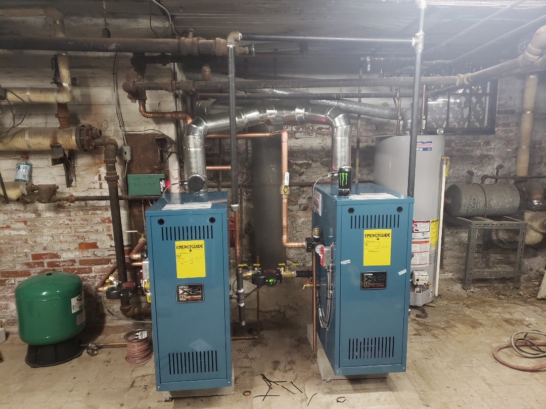 Side by side gas boilers