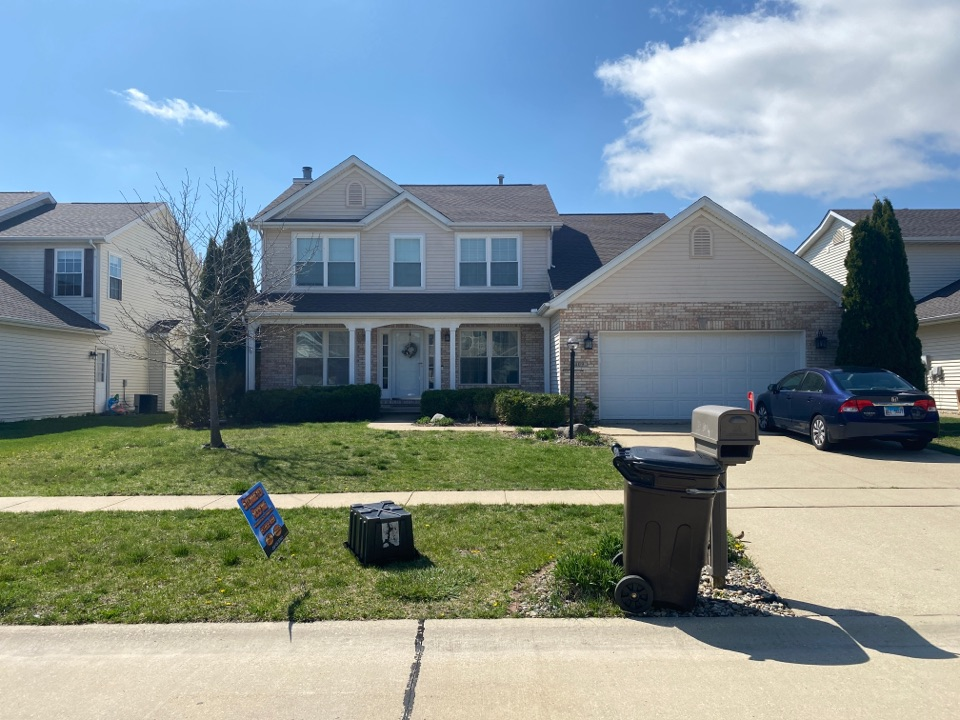 Savoy, IL - This beautiful house was in need of a roof replacement!  With the help of some nice weather, Steinmeyer roofing was able to get it done! This homeowner went with Timberline HDZ barkwood by GAF shingles to accent this home perfectly!