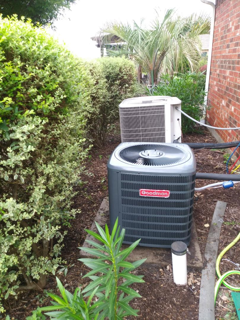 Terrell, TX - Replacing a bryant complete air system. With good man 2 ton system, air handler and condenser