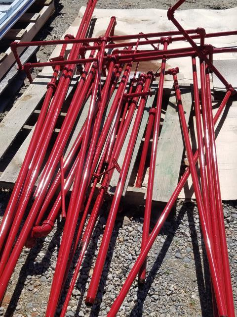 Raleigh, NC - Did you know that we have special equipment for commercial powder coating and industrial coating?  Here are some fire sprinkler pipes that turned out beautifully, on budget and on time!