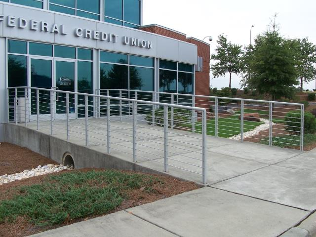 Raleigh, NC - We custom build and install commercial handrails for banks, institutions, schools, government and municipal buildings.  All of our commercial railings meet all local codes and are ADA compliant.