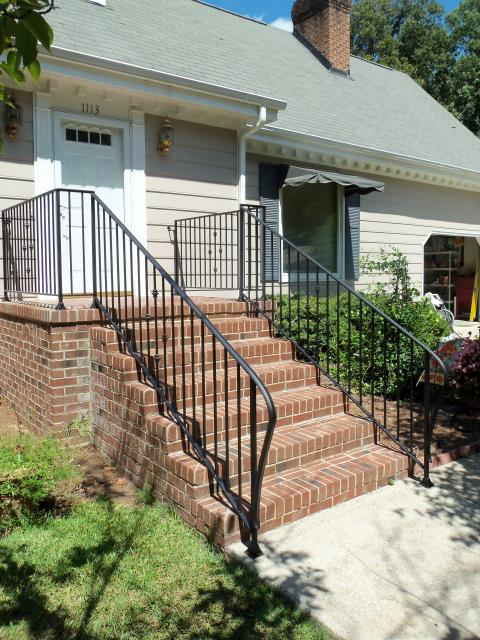 Creedmoor, NC - We custom design, build and install sturdy 100% iron hand railings for porches, stairs and hallways.  We also build ADA compliant hand rails.