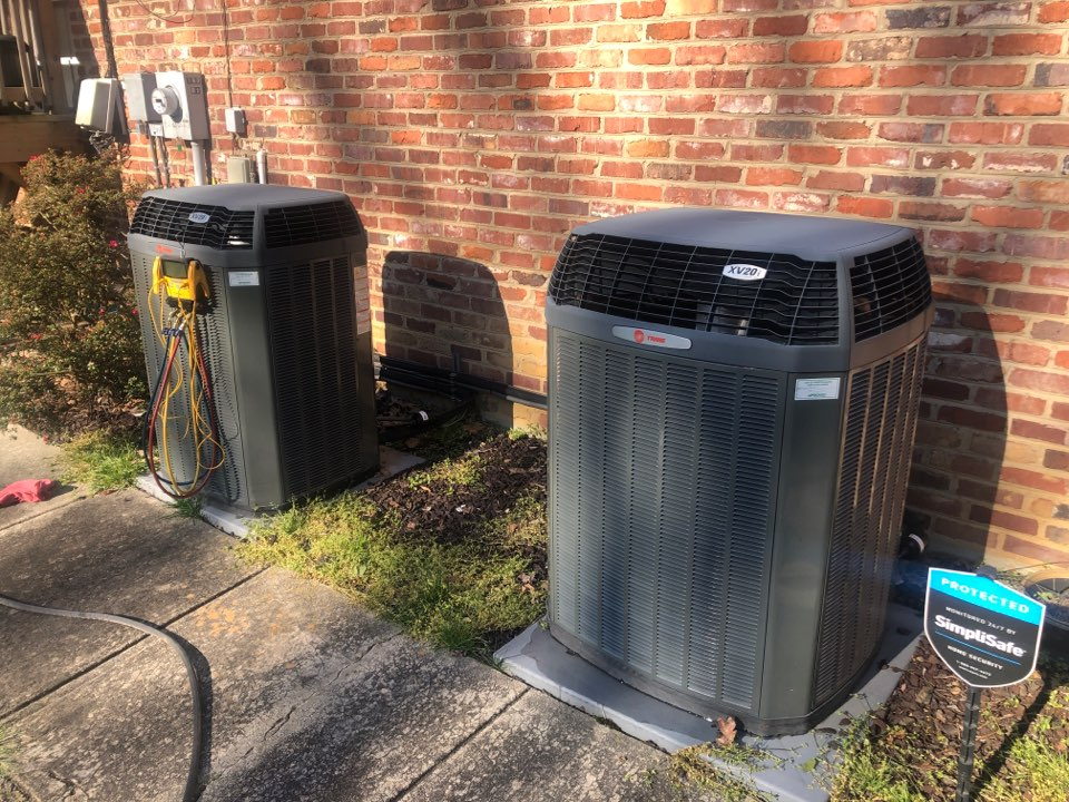 Kernersville, NC - 2 Trane high efficiency heat pump 20 seer spring and summer tune up, wash condenser coils in the spring!