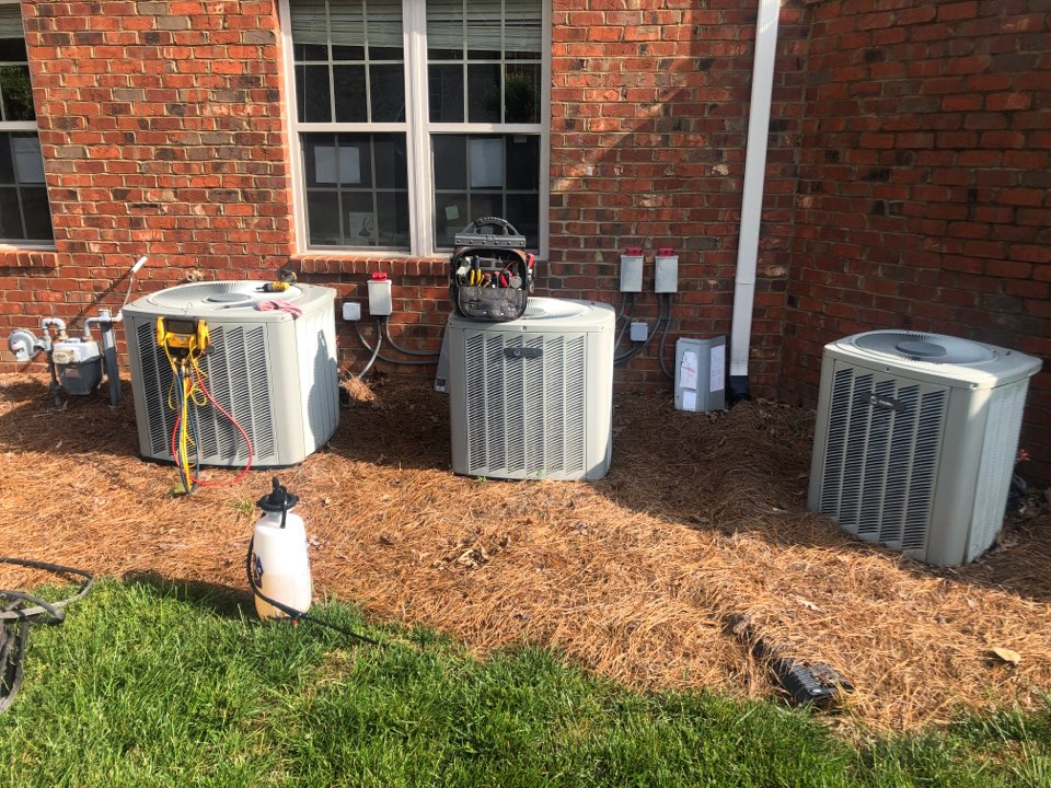 Oak Ridge, NC - 3 Trane units ready for spring tune up, clean with chemical cleaner and test operations