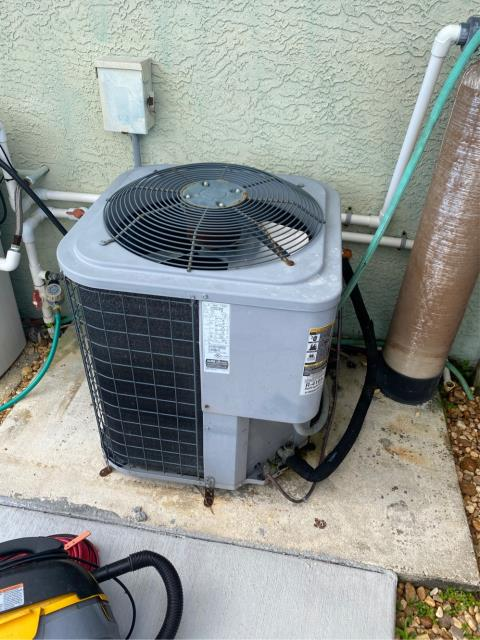 Port St. Lucie, FL - Air Conditioning System not working; we found extremely clogged drain line and auxiliary pan full of water. Flushed drain line and cleaned out pan and checked operations. AC sytsem working now.