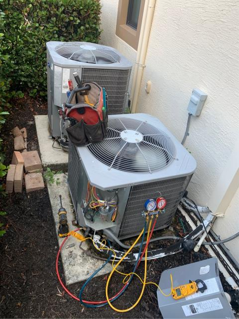 Jensen Beach, FL - Performed 2 air conditioning systems maintenance to keep systems running efficiently; 23 point inspection.