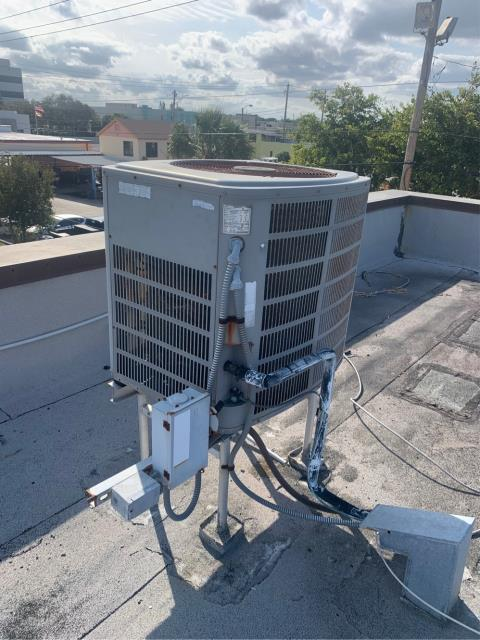 West Palm Beach, FL - Air conditioning system on a commercial business.  This maintenance was on 12 ac systems and each system got a 23 point inspection, cleaned accessible coils, flushed drain lines, and clean drain pans.