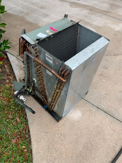 Palm City, FL - Air conditioning system not running efficiently.  We removed and cleaned the evaporator coil, primary drain pan, blower assembly and heater.