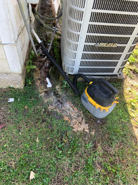 Port Salerno, FL - Air conditioning system would not turn on; found clogged drain line.  We flushed, cleaned, drain line/drain pan.
