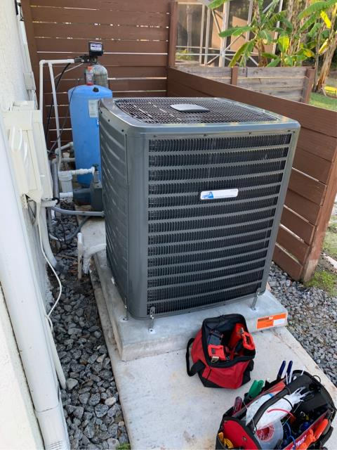 Air conditioning system installation of a 5.0 ton, 16 SEER, two stage compressor and fan motor with a NEST thermostat.  This system comes with a 10 year part warranty.
