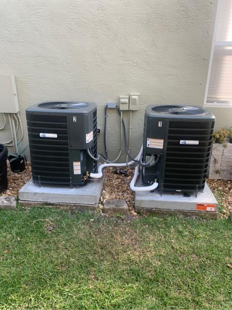 Palm City, FL - Air Conditioning Systems installation of two 2.5 Ton, 16 SEER higher energy efficiency.  Both systems come with a 10 year labor warranty and 2 year replacement warranty.  We love all of our friends in Highland Reserve!