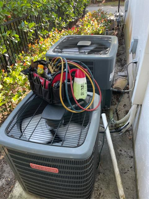 Jupiter, FL - Air conditioning system maintenance on three systems.  All maintenances include a 23 point inspection, flush drain line, clean drain pan, clean accessible coils, and apply a protective coating on outside unit.