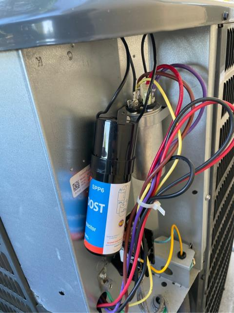 Palm City, FL - Air conditioning system blowing hot air; replaced capacitor and installed a compressor hard start kit.  All operations working properly.