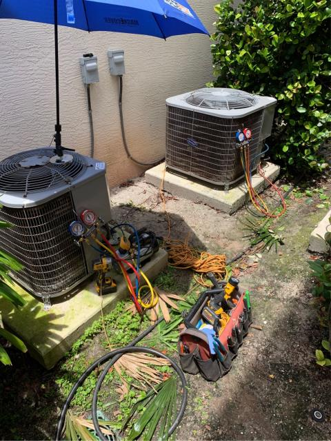 Palm Beach Gardens, FL - Air conditioning tune up on two systems.  All tune ups include a 23 point inspection and are recommended to keep your ac system running efficiently all year round.