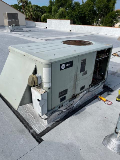 Port St. Lucie, FL - Air conditioning system service call to diagnose why commercial ac system would not turn on.  Found breaker in the pane tripped; reset breaker and check system operation and everything working properly.