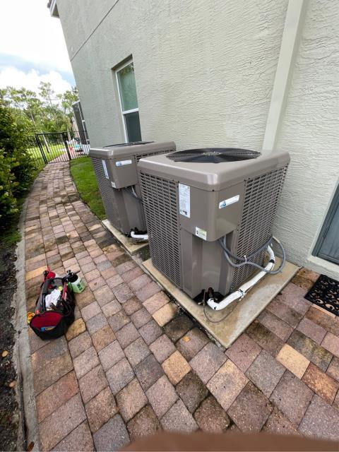 Palm City, FL - Air conditioning system maintenance on two ac systems.  All maintenances come with a 23 point inspection and is recommended annually to keep you ac running efficiently all year round.