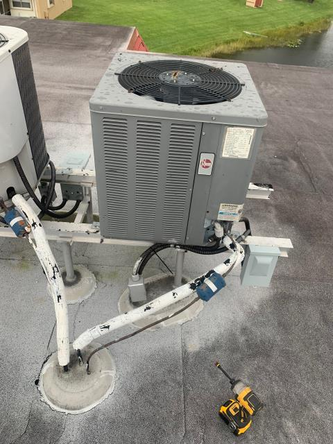 West Palm Beach, FL - Air conditioning system maintenance includes a 23 point inspection, clean accessible coils, flush drain line, clean drain pan, and apply protective coating to outside unit.  Customer prefers twice a year to keep her system running efficiently all year round.