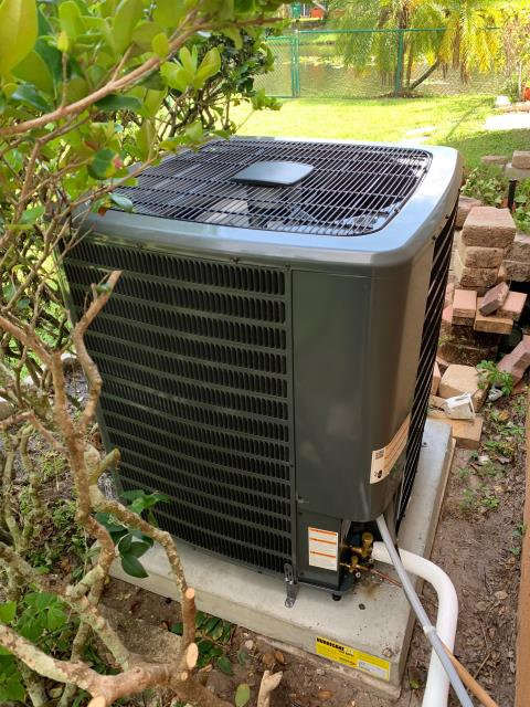 Riviera Beach, FL - Air conditioning system installation of a 4 ton, 16 SEER multi-speed ac system for better comfort.  This system has a two stage compressor and condenser fan motor and comes with a 10 year parts and labor warranty.