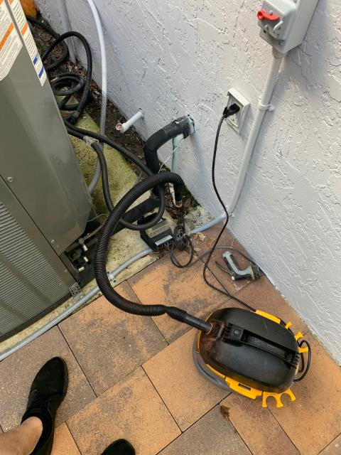 Palm Beach Gardens, FL - Air conditioning system not cooling; found system off on safety float switch caused by a clogged drain line and dirty filter.  We treated the drain line and changed the filter.  All operations working!