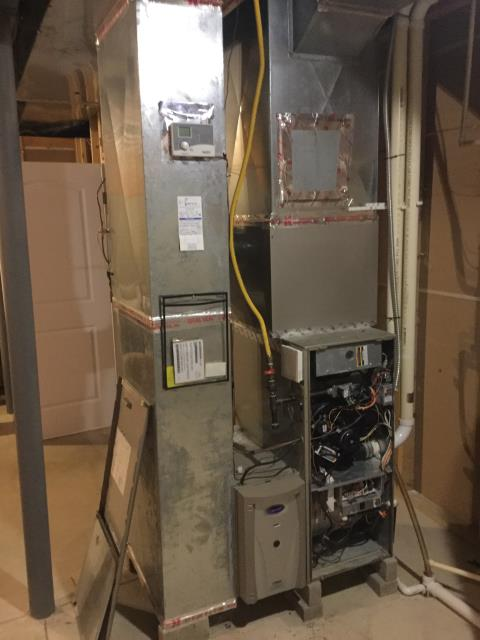 "Hilliard, OH - Diagnostic service performed on a Carrier ""Infinity Series"" gas furnace. Reconnected Carrier EAC and system functioning as expected."
