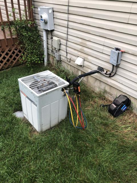 Found that system has a leak and is low on refrigerant. Homeowner opted to have refrigerant added and getting quotes on new ac
