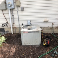Reynoldsburg, OH - 3 Ton Trane A/C System very low on refrigerant and confirmed leak. Per customer request recharged the unit with 4 lbs of R-22 Freon and sent over estimates to replace with a Carrier System.