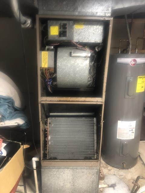 New Albany, OH - Diagnostic Service Call  Service work performed:  Customer states lines froze over  evap coil is 35% restricted with dirt  pressures 25/135psig  supply temp in cooling 61 degrees  return drop temp 70  air handler is 38 years old and outdoor unit was manufactured before 1999, I believe a 1992.  unit holds over 9 lbs 11 ounces of R-22  system has a leak  system needs anywhere from 2-4 lbs of freon  customer wants to add freon and get estimates