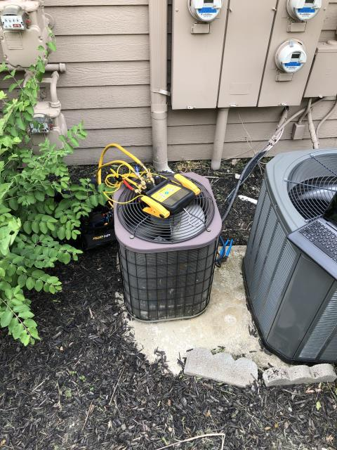 Gahanna, OH - Upon arrival found condenser flat on charge, It is a 1995 R22 system, Recommended replacement due to age and cost of repairs, Provided customer with estimates, customer will review and get back with us, System not operational at departure.