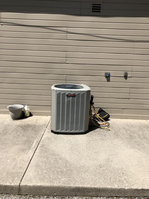 Worthington, OH - Upon arrival found system low on refrigerant, Customer sated that they had it charged about a week ago, Recommended system replacement due to age of system and cost of repairs, 2013 Trane System not operational at departure.