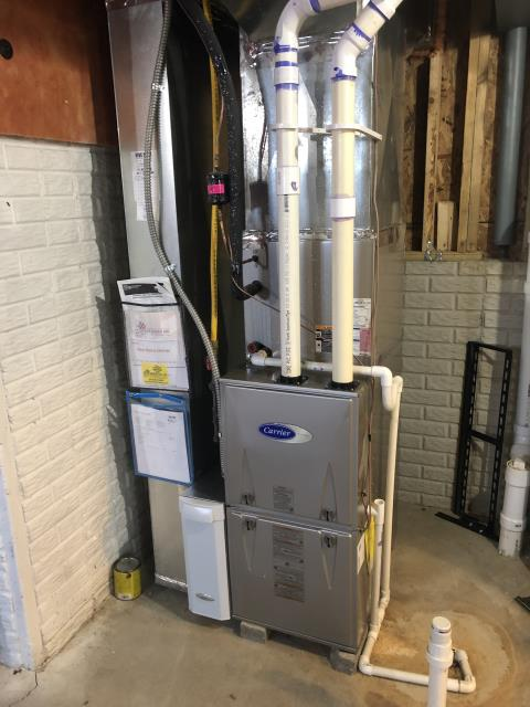 Lewis Center, OH - Installed a T for servicing drain line on Carrier AC. System is cooling properly at this time.