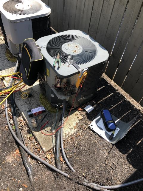 Dublin, OH - I did a Search for Refrigerant Leak with Electronic Leak Detector as well as replaced the Compressor-Motor Surge Capacitor on a 2006 Goodman Air Conditioner