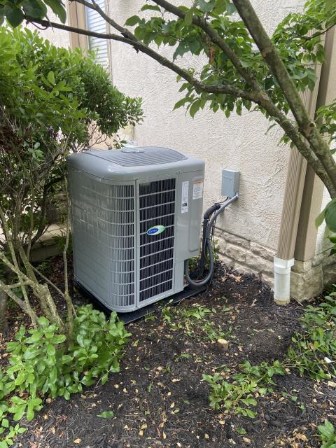 Dublin, OH - Upon arrival condenser was not operational, breaker was tripped, Took condenser fan off to test compressor, and found the terminal leads on compressor are fried, common terminal is so far gone and it is not repairable on the 2005 Bryant Air Conditioner.