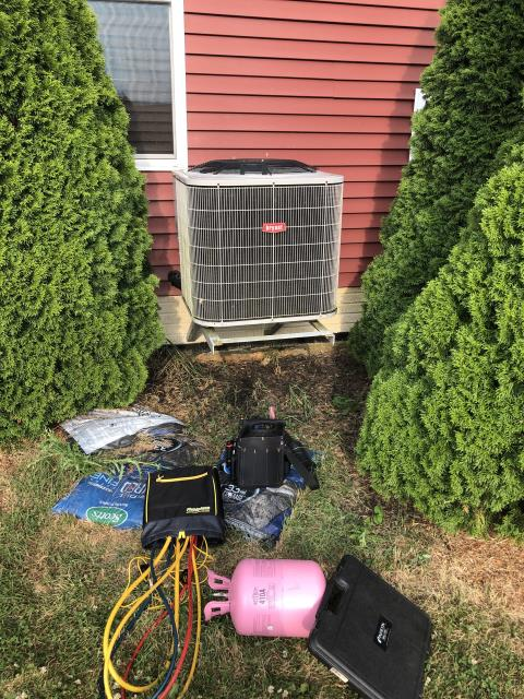 Hilliard, OH - I replaced the Compressor-Motor Surge Capacitor and added 1.5 pounds of Refrigerant R-410A Puron in to the Bryant Air Conditioner