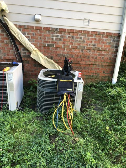 Dublin, OH - Upon arrival found condenser not operational. Tested dual capacitor and had zero readings on both sides. I replaced the Compressor-Motor Surge Capacitor on a 2002 Lennox Air Conditioner