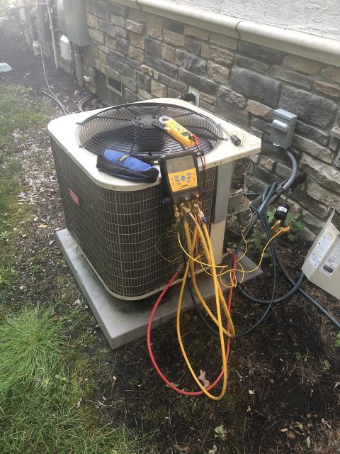 New Albany, OH - Found failing compressor on Bryant AC. Furnace filter extremely clogged. Removed filter and made customer aware. Provided customer with repair and replacement options. System operational at departure.