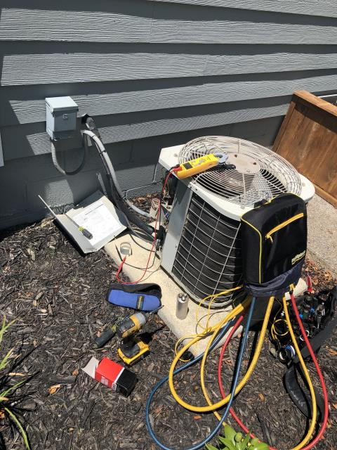 Powell, OH - Replaced compressor motor surge capacitor on Bryant AC. Added 1 pound of R-22. System  is cooling properly at departure.