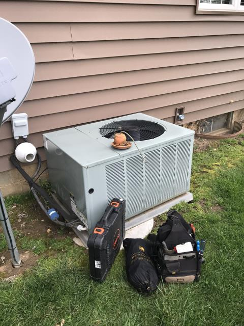 New Albany, OH - Upon arrival found condenser not operational, Noticed hard start kit has blown up, did not have a hard start kit on truck to replace, Removed bad hard start kit at customer's request, system kicked on operational, checked inrush amps on compressor and had 12.3amp max amps is rated at 17.9, checked pressures all is good,