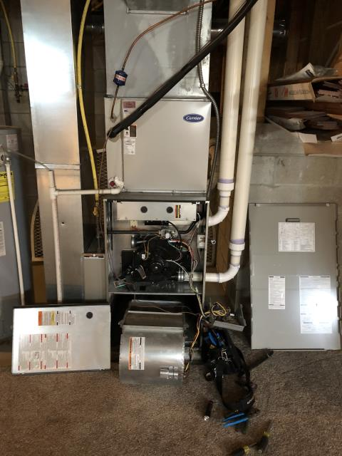 New Albany, OH - Found faulty blower motor on Bryant furnace. Part has been ordered an will be installed upon arrival.