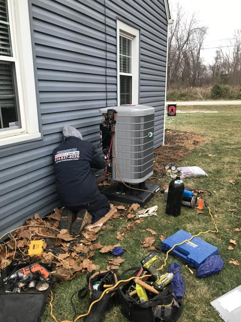 New Albany, OH - Upon arrival found the 2018 Carrier system not operational, after further diagnostic discovered that the condensation drain line is clogged and causing float switch to trip and disconnect low voltage, Took drain apart and blew out with drain gun, also replaced filter with customer provided filter, it was extremely clogged, Also checked pressures, all is good at this time. System operational at departure.